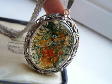 "VINTAGE STERLING SILVER LARGE HUGE MOSS AGATE PENDANT 29"" CHAIN EXTREMELY RARE"