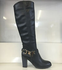 LADIES WOMENS BLACK KNEE HIGH LEATHER STYLE HIGH HEEL BOOTS SHOES SIZE 6