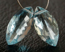 Eye Clean Sky Blue Topaz Faceted Marquise Convex Briolette Beads Matched Pair