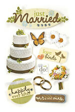 PAPER HOUSE JUST MARRIED WEDDING LOVE BIRDS DIMENSIONAL 3D SCRAPBOOK STICKERS