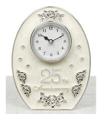 NEW SILVER & IVORY WHITE MARBLED 25TH ANNIVERSARY OVAL CLOCK SILVER WEDDING GIFT