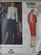 Bill Blass Designer Vogue 2643 80s Skirt Suit Jacket Vtg Sewing Pattern B 34