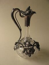 """Sterling Silver Overlay CLARET WINE cut crystal Glass DECANTER BOTTLE 13"""" grapes"""