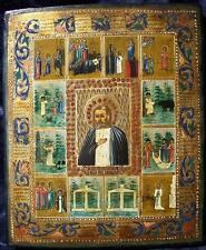 Rar! icono ruso del santo de Seraphim sarow con escenas de vida 19jh.