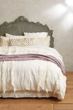 *perfect gift* Anthropologie TIERED RUFFLE Queen Duvet Cover White NWT