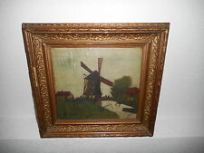 Antique oil painting,{ Landscape with a windmill, is signed, nice frame!}.