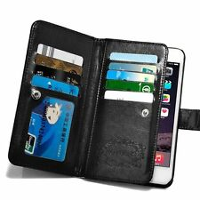 Apple iPhone 6 S Plus 5.5 Case Leather Wallet Credit Card Slot Holder Hand Grip