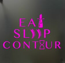 eat sleep contour makeup girl lipstick sticker JDM race car window pink decal