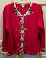 UGLY Christmas SWEATER  Hot Pink Santa Button Down ~ Sz L