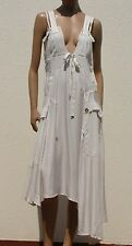 HIGH use kleid beige asymmetrisc ecru 38 robe asymétrique dress 40 abito 44 NEW