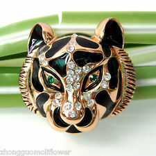 Navachi Sacred Tiger Head Totem Enamel Crystal 18K GP Pin Brooch BH7406