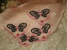 SHABBY COTTAGE PINK DAMASK NAPKINS CROCHET BUTTERFLY FLOWER PARIS APT CHIC x4