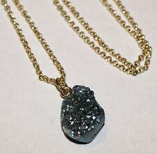"21mm Slate Blue Titanium Druzy Quartz Geode Gemstone Pendant 22"" Gold Necklace"