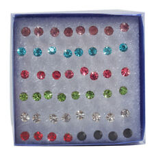 Fashion Wholesale Lots 48 Pcs Mixed Colors Rhinestone Studs Earrings Piercing US