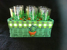 RARE SET OF 6 x CACTUS GLASSES TUMBLERS IN BASKET STAND TEQUILA SUNRISE