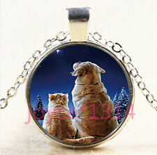 Cute Dog and Cat Cabochon Tibetan silver Glass Chain Pendant Necklace #4336
