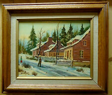 QUEBEC LISTED ARTIST SANTERRE -QUEBEC HOUSES- PAINTING ON CANVAS 1960-70