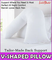 Hollowfibre Back & Neck Support V Shaped Orthopedic Pillow With Pillow Case