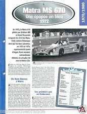 F1 Matra MS 670 M71 V12 1972 France Car Auto Retro FICHE FRANCE