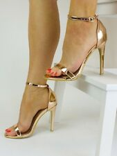 NEW WOMENS ROSE GOLD HEELS STRAPPY ROSE GOLD SANDALS ROSE GOLD BARELY THERE