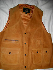 ORVIS COGNAC TAN LEATHER MUNITION VEST JACKET-BREATHABLE COTTON CLOTH BACK-LN-M