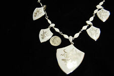 Vintage Sterling Silver Siam Necklace WHITE Enamel AMFARCO Thailand Free Ship