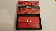NWT Lauren Ralph Lauren Women Boxed Carlisle Slim Leather Wallet Red $98
