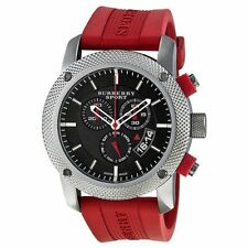 Burberry BU7706  Men's Sport  Chronograph Red Strap watch. Brand New