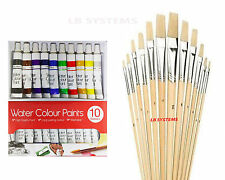 12 PC ASSORTED WOODEN HANDLE ARTIST's BRUSHES + 10 TUBES WATER COLOUR SET NEW