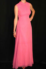 XS~S PINK CHIFFON OVERLAY VTG 70s EMPIRE DRAPE LONG PARTY PROM GOWN MAXI DRESS
