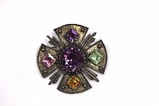 Vintage Signed Dodds  Rhinestone Maltese Cross Pendant Pin Brooch
