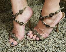 MANOLO BLAHNIK ankle strap stilettos sz 7 1/2