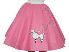 """01 Pink Felt Poodle Skirt _ Girl Size Large (Age 10-13) _ Waist 25""""-35"""" _ L: 23"""""""