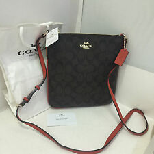NEW ARRIVAL! COACH SIGNATURE NS CROSSBODY MESSENGER SLING BAG BROWN CARMINE $195