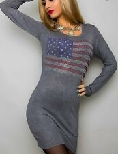 Long Pulli Pullover Strick Kleid 34/36/38 amerika Flagge Stars Stripes grau