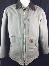 Mens Carhartt Coat Sz M Tan Fleece Lined Jacket Zip Front Work Wear D1