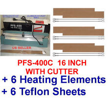"""16"""" Hand Impulse Sealer with Cutter +  6 heating Elements + 6 Teflon Sheets"""