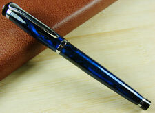 B153 BAOER 508 Fountain Pen Medium Nib Size Flash Magic Blue Silver Trim Pen