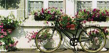 XXL-Ansichtskarte: schönes Fahrrad vor vielen Blumenkästen - bicycle