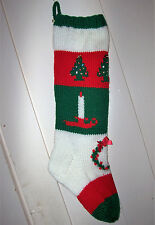 Hand Knit Christmas Stocking Old Pattern Candle Trees Wreath Personalized