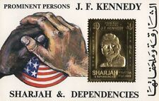 PROMINENT PERSONS J.F. KENNEDY JFK SHARJAH AND DEPENDENCIES GOLD LEAF STAMP