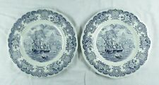 Staffordshire, England HISTORICAL PORTS OF ENGLAND Blue & White Dinner Plate x2