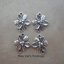 Sterling silver holly flower link connector 13mm quantty 4 JBB Findings