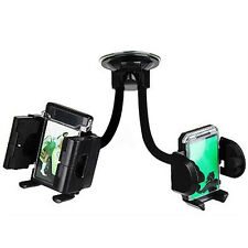 Twin Universal iPhone Mobile Phone GPS PDA Flexible Suction Car Mount Holder