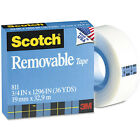 "Scotch Removable Paper Tape, 0.75"" x 36 Yd, 1"" Core, Clear, 2 Rolls"