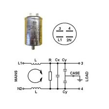 MAINS FILTER STUD MOUNTED Cx:0.47µF MKT X2  Cy:0.025µF