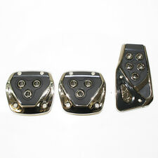 Universal Black Chrome Car Foot Pedal Covers Pads Non Slip Clip On No Drilling