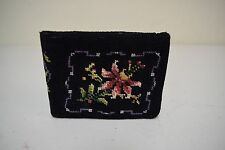 VINTAGE/Antique Black Floral Handmade Needlepoint Wallet w Kiss Lock Coin Purse
