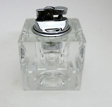 Vintage Heavy Crystal Glass Cube Tabletop Lighter /Tea Light holder circa 1960's