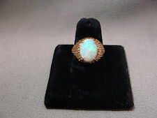 Large Vintage Bright Color Opal Ring 14k Yellow Gold Size 6 Unique Setting